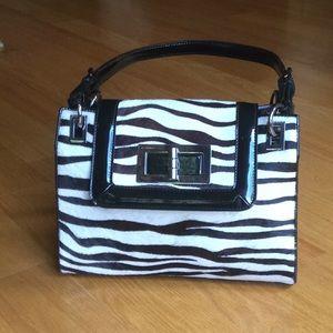 Talbots patent leather and zebra haircalf handbag